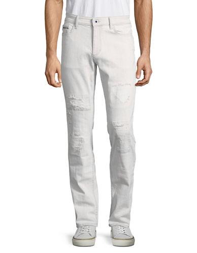 Calvin Klein Jeans Distressed Slim Straight Jeans-BEIGE-30