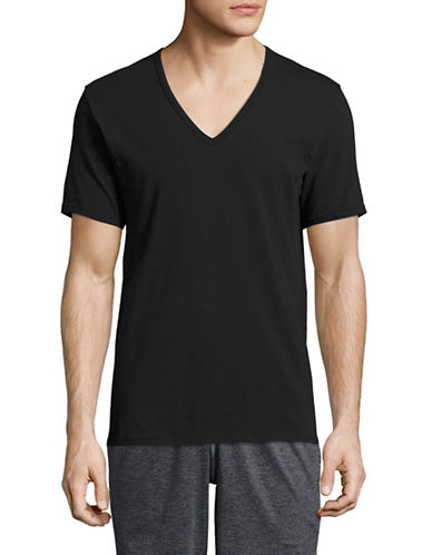 Calvin Klein ID Slim Fit V-Neck T-Shirt-BLACK-Small