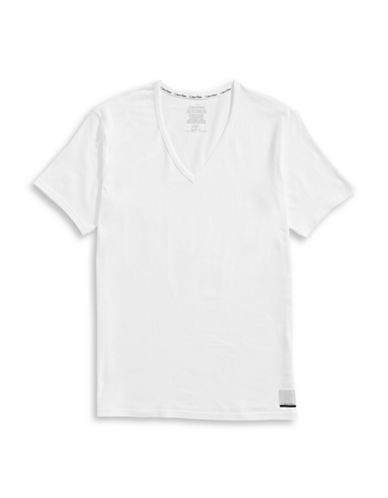 Calvin Klein ID Slim Fit V-Neck T-Shirt-WHITE-X-Large 89113565_WHITE_X-Large