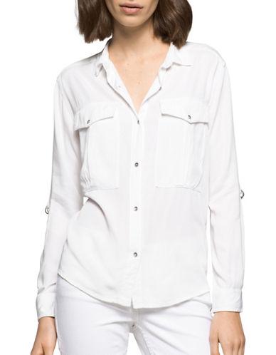 Calvin Klein Jeans Roll-Sleeve Utility Shirt-WHITE-Medium