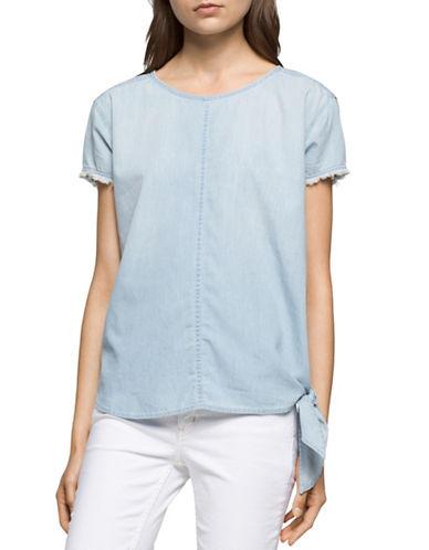 Calvin Klein Jeans Cotton Tie-Hem T-Shirt-BLUE-Large 89098651_BLUE_Large