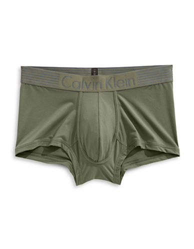 Calvin Klein Iron Strength Low Rise Trunk Briefs-GREEN-Small