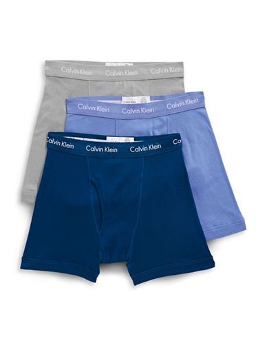 Calvin Klein Three-Pack Cotton Boxer Briefs-BLUE/ASSORTED-Large