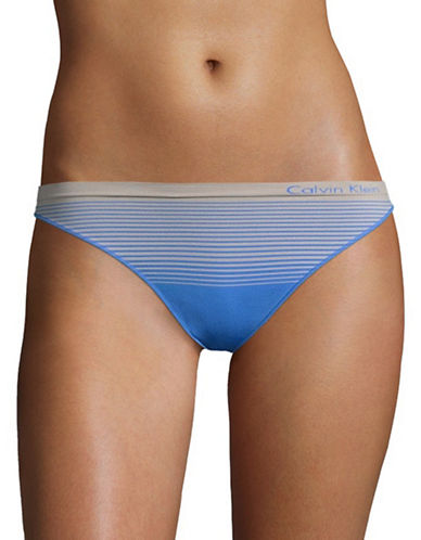 Calvin Klein Seamless Striped Thong-STILL BLUE-Large