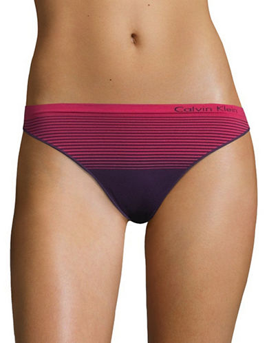 Calvin Klein Seamless Striped Thong-PLUM-X-Large