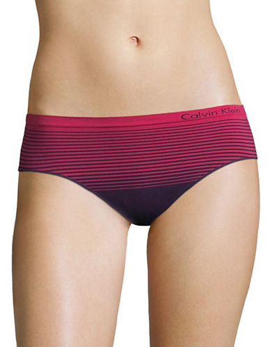 Calvin Klein Seamless Striped Hipster Briefs-PLUM ORBIT-Medium