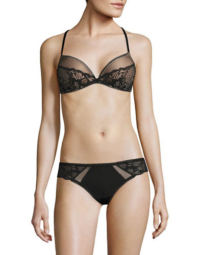 Calvin Klein Linger Plunge Push-Up Bra-BLACK-36D