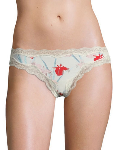 Calvin Klein Lace Trim Micro Thong-ORCHID MULTI-Small