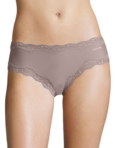 Calvin Klein Cheeky Lace Trim Bikini Panties-VIOLET DUST-Large