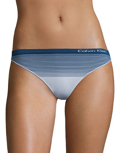 Calvin Klein Seamless Striped Thong-PURE ICE-Large