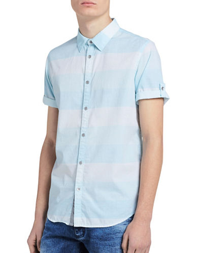 Calvin Klein Jeans Slim-Fit Striped Sport Shirt-BLUE-Large