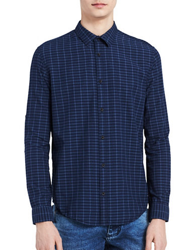 Calvin Klein Jeans Slim-Fit Checked Shirt-BLUE-Large