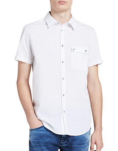 Calvin Klein Jeans Slim-Fit Short Sleeve Shirt-WHITE-Large