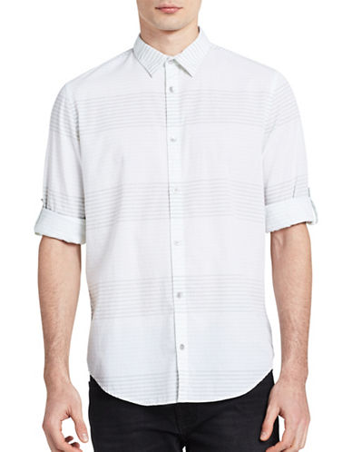 Calvin Klein Jeans Striped Roll-Tab Sleeve Shirt-WHITE/GREEN-X-Large