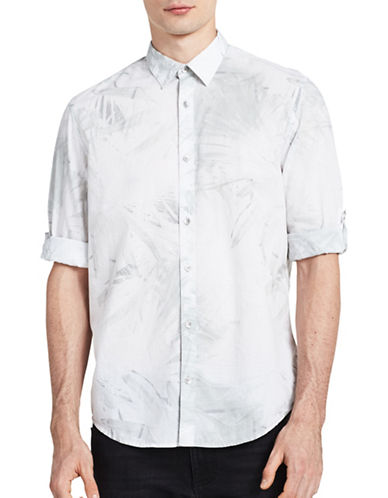 Calvin Klein Jeans Overexposed Palm-Print Roll-Tab Sleeve Shirt-WHITE-Medium