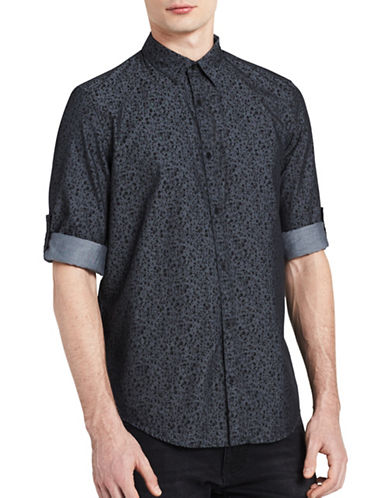Calvin Klein Jeans Floral-Print Cotton Shirt-BLACK-Small
