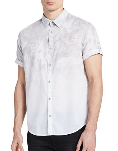 Calvin Klein Jeans Ombre Print Roll-Sleeve Shirt-GREY-Large