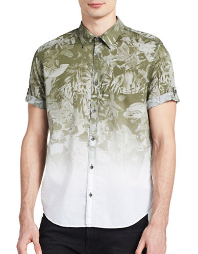 Calvin Klein Jeans Ombre Print Roll-Sleeve Shirt-GREEN-Small