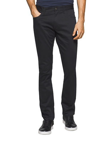Calvin Klein Jeans Slim Straight Cotton Stretch Pants-BLACK-38X32