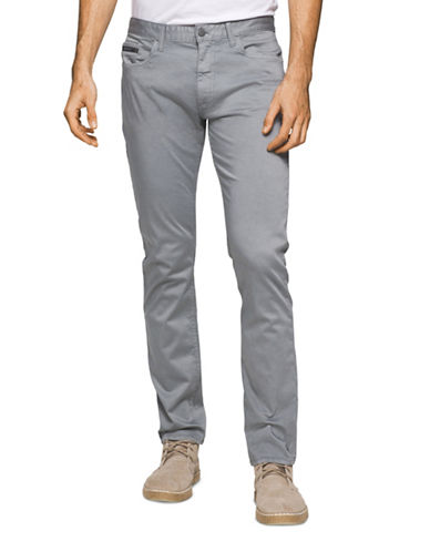 Calvin Klein Jeans Slim Straight Cotton Stretch Pants-GREY-36X32