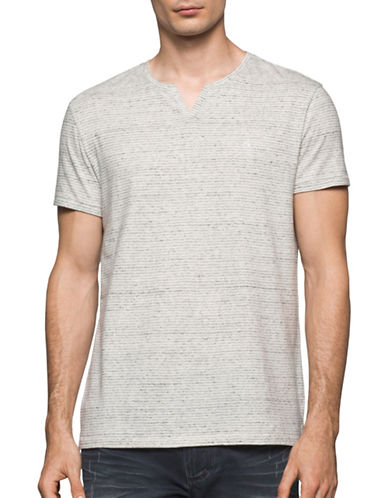 Calvin Klein Jeans Feeder Stripe T-Shirt-WHITE-Large