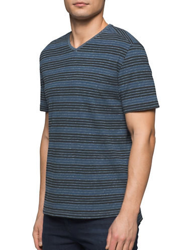 Calvin Klein Jeans Striped Cotton Tee-BLUE-X-Large