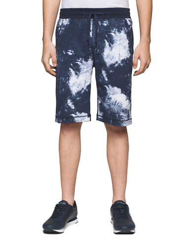 Calvin Klein Jeans Graphic Print Cotton Shorts-BLUE-Large