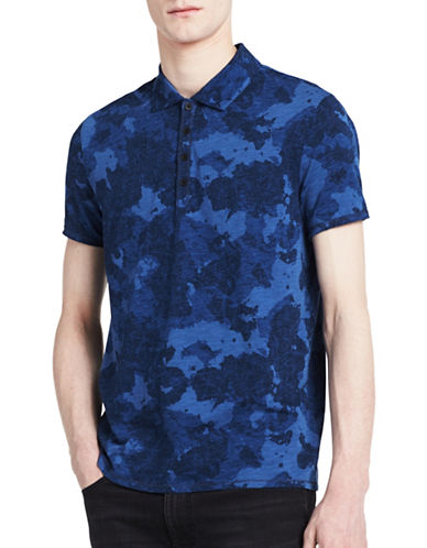 Calvin Klein Jeans Camo Cotton-Linen Polo-BLUE-X-Large