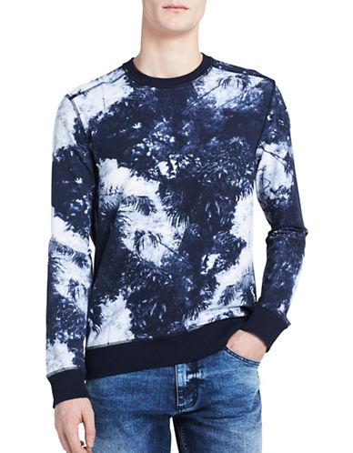 Calvin Klein Jeans Palm-Print Sweatshirt-BLUE-X-Large