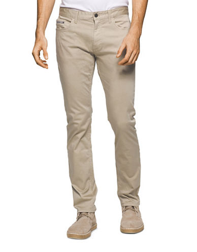 Calvin Klein Jeans Slim Straight Cotton Stretch Pants-BEIGE-36X32