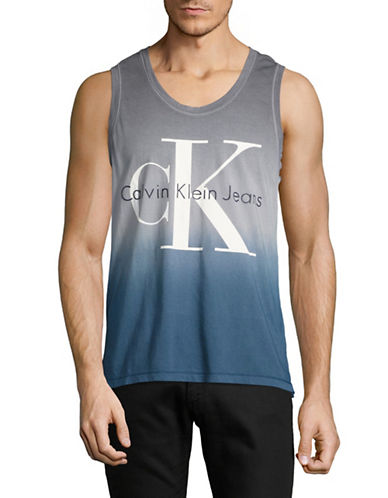 Calvin Klein Jeans Tie-Dye Tank with Logo-GREY-Medium