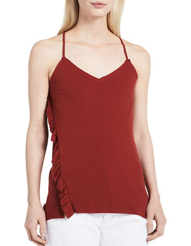 Calvin Klein Jeans Boho Asymmetrical Ruffle Camisole-RUST RED-X-Large