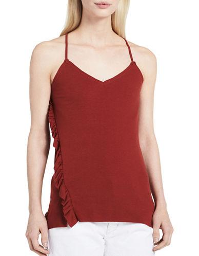 Calvin Klein Jeans Boho Asymmetrical Ruffle Camisole-RUST RED-Small