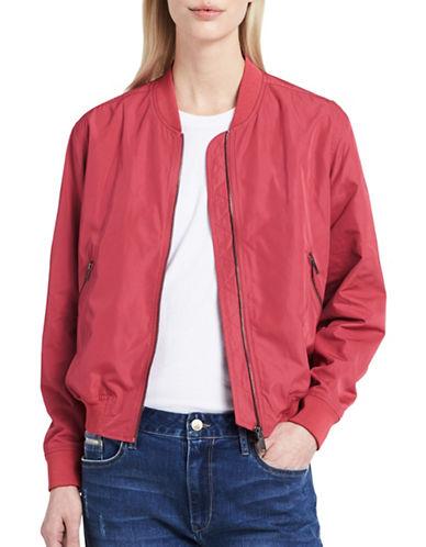 Calvin Klein Jeans Logo Embroidered Bomber Jacket-ROUGE ROSE-Medium
