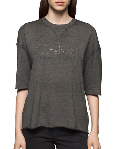 Calvin Klein Jeans Heathered Logo Tee-GREY-Large