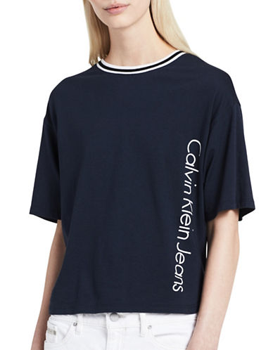 Calvin Klein Jeans Stripe Trim T-Shirt-PARISIAN NIGHT-Medium