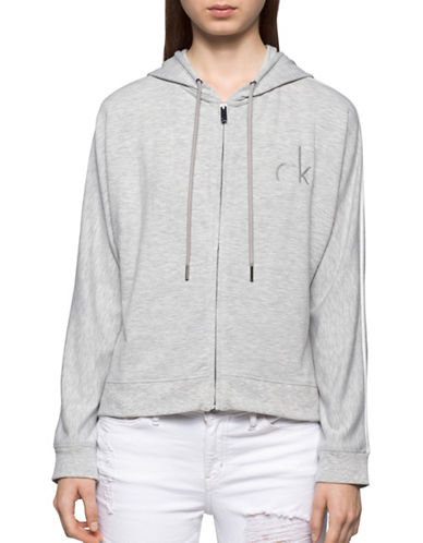 Calvin Klein Jeans Grey Logo Hoodie-LIGHT GREY-Large