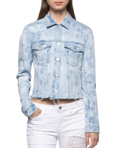 Calvin Klein Jeans Cropped Trucker Denim Jacket-MARBLE WASH-X-Small