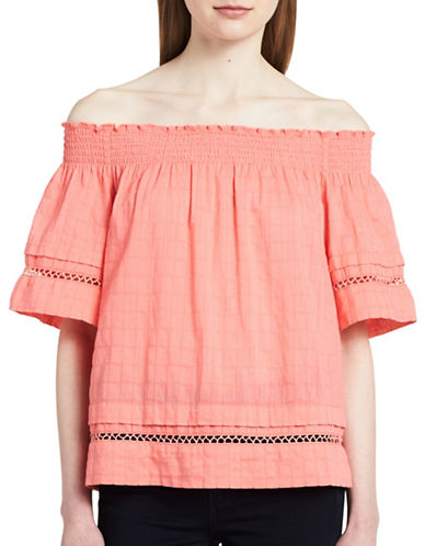 Calvin Klein Jeans Cotton Off-the-Shoulder Top-FESTIVAL PINK-Medium