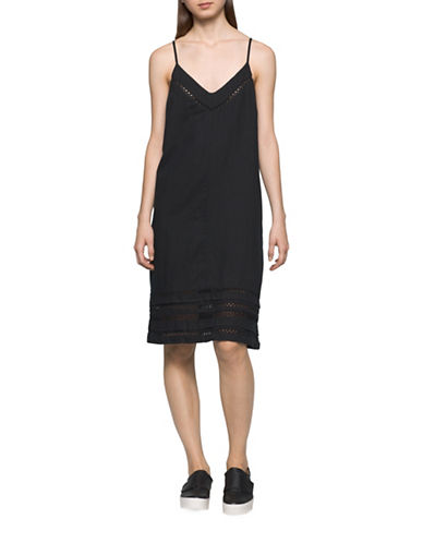 Calvin Klein Jeans Crochet Tank Dress-BLACK-Small