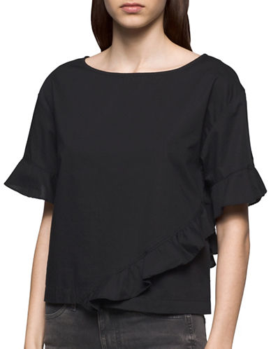 Calvin Klein Jeans Ruffled Cotton Top-BLACK-Medium