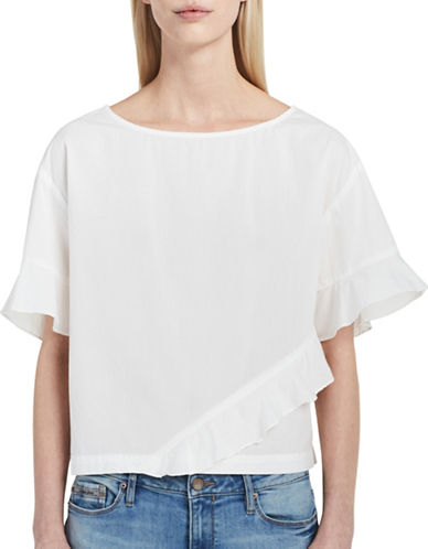 Calvin Klein Jeans Ruffled Cotton Top-SNOW WHITE-Large