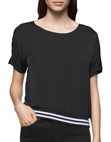 Calvin Klein Jeans Knit Short Sleeves Top-BLACK-Small