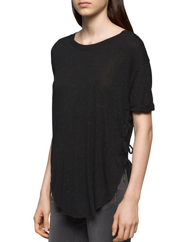 Calvin Klein Jeans Laced Pieced Tee-BLACK-Small