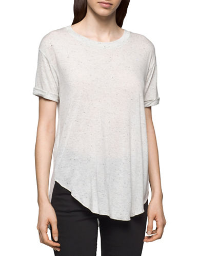 Calvin Klein Jeans Laced Pieced Tee-WHITE WASH-Large