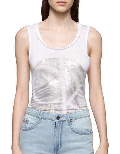 Calvin Klein Jeans Circle Palm Logo Tank Top-WHITE WASH-X-Large