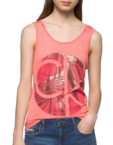 Calvin Klein Jeans Circle Palm Logo Tank Top-FESTIVAL PINK-Large
