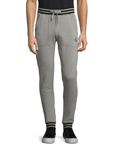 Calvin Klein Jeans Ribbed Logo Sweatpants-GREY-X-Large