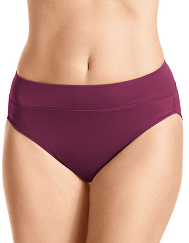 WarnerS No Pinching Hi-Cut Cotton Panties-PURPLE-Large