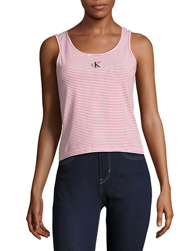 Calvin Klein Jeans Striped Logo Tank-VALIANT POPPY-Medium